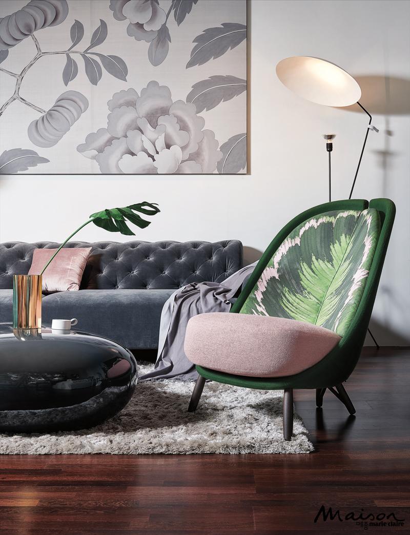 피앙카 보스톤 소파 칼라테아 의자 커피 테이블